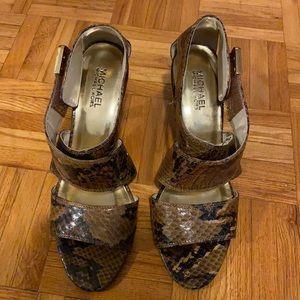 Michael Kohr Brown Snakeskin Heels
